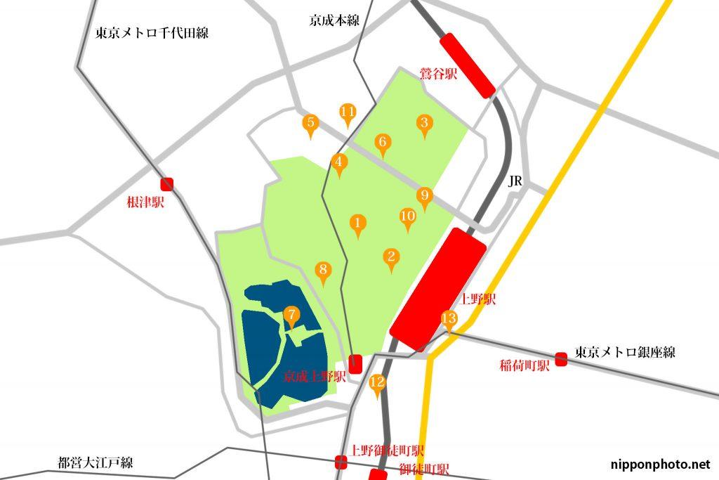 上野の撮影スポットまとめ地図