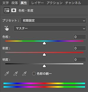 色相・彩度・明度 コントロールパネル