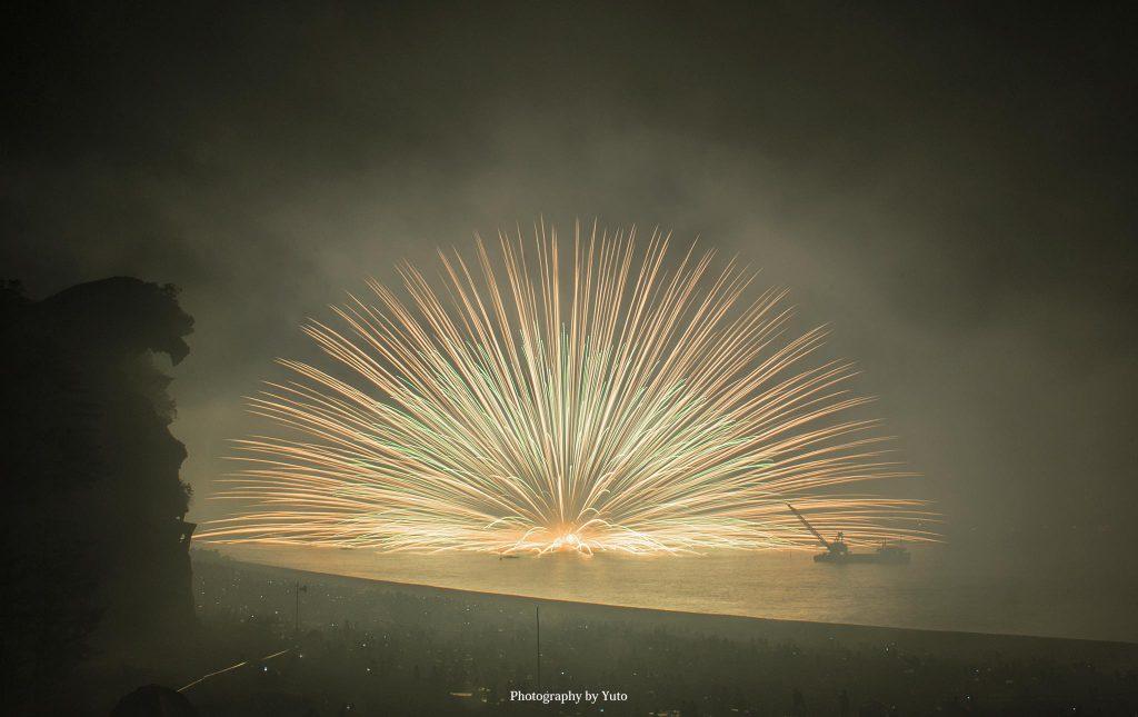 三重県熊野市 熊野大花火大会 三尺玉海上自爆 2014/8/17