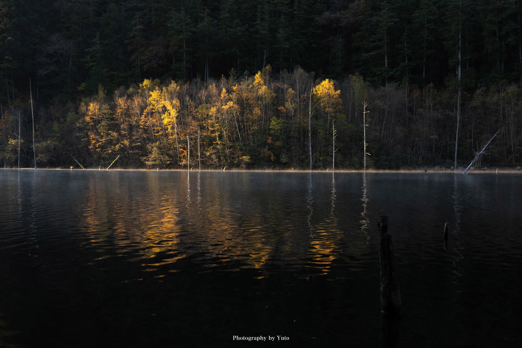 【長野県の紅葉】秋の自然湖で気嵐を楽しむ